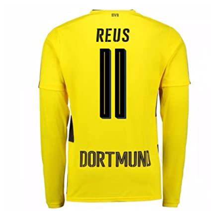 24da6b11c Image Unavailable. Image not available for. Color: 2017-18 Borussia  Dortmund Long Sleeve Home Football Soccer T-Shirt Jersey ...