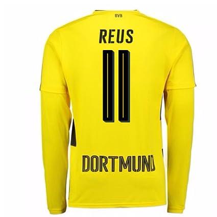new styles 664a4 dbec2 Amazon.com : 2017-18 Borussia Dortmund Long Sleeve Home ...