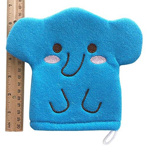 Blue Elephant Baby Bath Glove Hand Puppet Mitt Bath Toys Wash Cloths Scrubber by Furocco Bath Talk (Image #3)