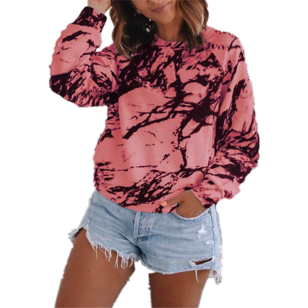 Camiseta de Manga Larga con Cuello Redondo y Estampado Tie-Dye para Mujer, otoño e Invierno: Amazon.es: Ropa y accesorios