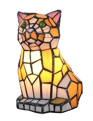 Lámpara de mesa con forma de gato creativo Tiffany Lámpara de luz ...