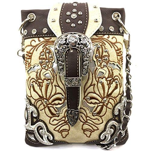 Justin West Floral Embroidery Tooled Laser Cut Rhinestone Studded Buckle CrossBody Mini Handbag Phone Messenger Purse (Beige)