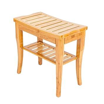 Amazon Com Wooden Shower Stool Wood Bathroom Bench Seat Bamboo Bath