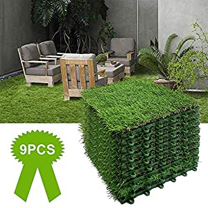 Artificial Grass Turf Interlocking Grass Tile 9 PCS Synthetic Lawn Rug Fake Grass Carpet Food Indoor Outdoor Landscape…