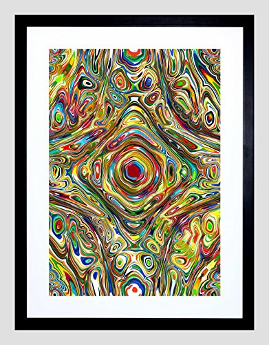 PAINTING PSYCHEDELIC CONCENTRIC COLOUR DESIGN BLACK FRAMED