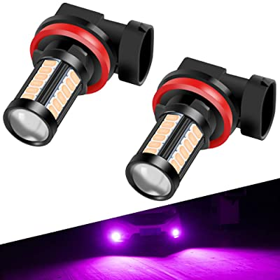H8 H9 H11 LED Fog Light Bulbs DRL 2800 Lumens Xtreme Super Bright 5730 33-SMD 12V LED Bulbs Replacement for Cars, Trucks, 6000K Xenon Pink: Automotive