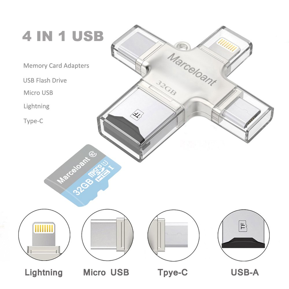 Marceloant Micro SD Card Reader, TF Memory Card Camera Reader Adapter for iPhone iPad Android Mac PC New MacBook. with Lightning Micro USB Type C USB 3.0 Connector(4 in1)