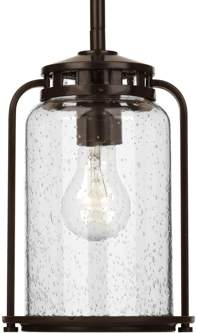 Luxury Nautical Pendant Light, Small Size: 9.75''H x 6.25''W, with Colonial Style Elements, Olde Bronze Finish and Clear Seeded Shade, UHP2110 from The Carlsbad Collection by Urban Ambiance