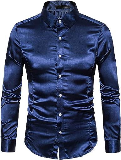 acelyn Camisa metálica para Hombre, Color Dorado/Plateado, con Botones: Amazon.es: Ropa y accesorios