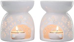 T4U Ceramic Tealight Candle Holder Oil Burner, Essential Oil Incense Aroma Diffuser Furnace Home Decoration Romantic White Set of 2 - Floral Pattern
