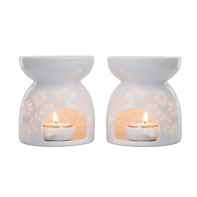 T4U Ceramic Tealight Candle Holder Oil Burner, Essential Oil Incense Aroma Diffuser Furnace Home Decoration Romantic Gift White Set of 2 - Floral Pattern