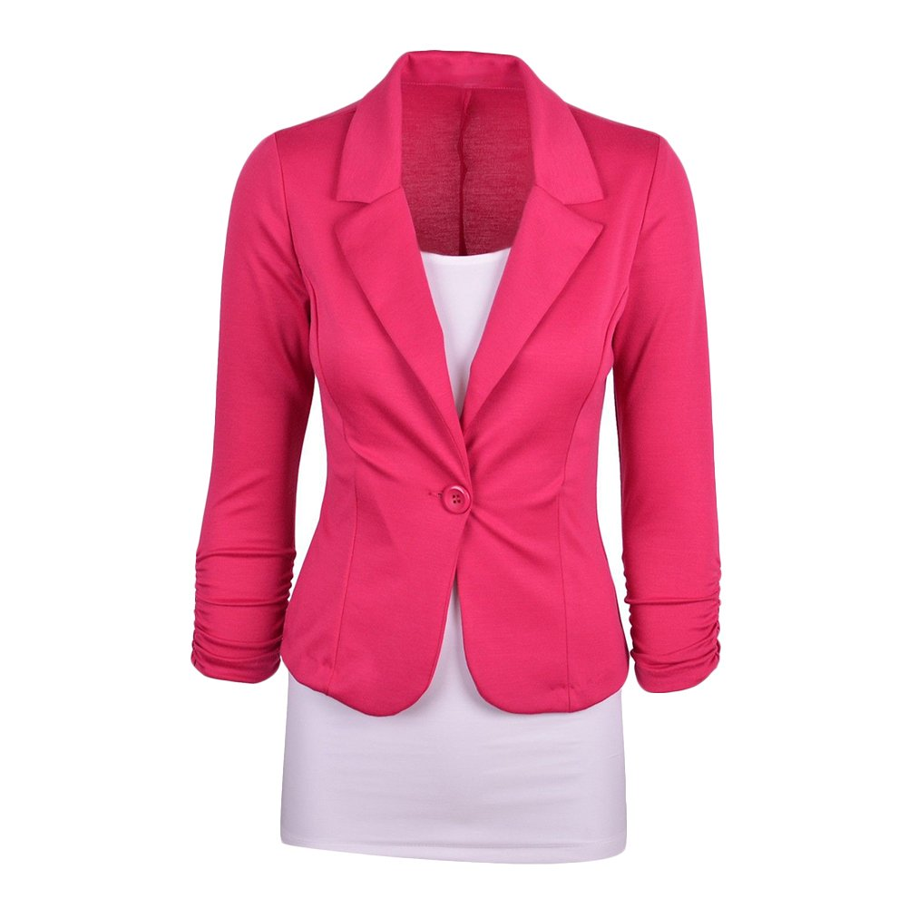 Women Tailored Blazer Jacket Long Sleeve One Button Slim Fitted Smart Office Blazer Jacket Crop Blazer Jackets UK 6-16