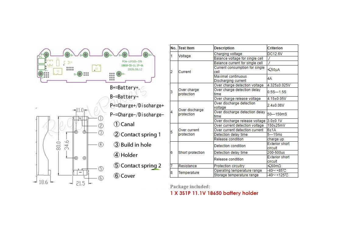 5 pcs 3S1P 18650 11.1V Holder Case Battery Li-Ion PCM Protection Circuit Module