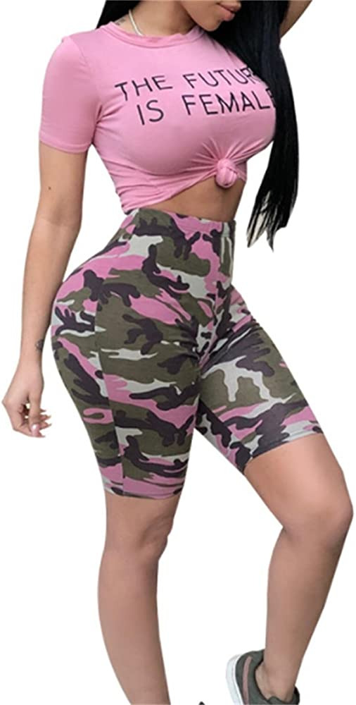 LETSVDO Womens 2 Piece Outfit Summer Tie Dyeing Crop Top with Bodycon Shorts Set Jumpsuit Romper