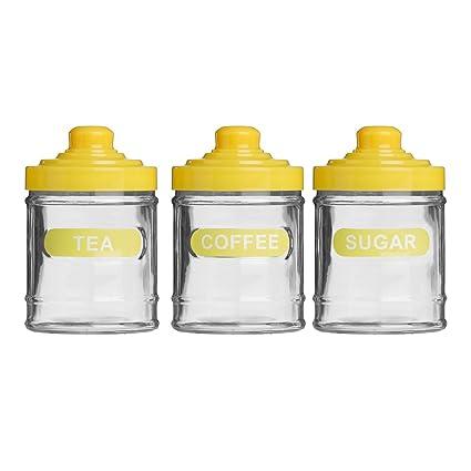 Set Of 3 Bright Yellow Colour Glass 760ml Tea Coffee Sugar Kitchen