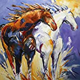 Cliffhangers - Original Horse Painting Colorful Equine Art Modern Western Art Contemporary Horses Decor by Renowned Artist Laurie Pace