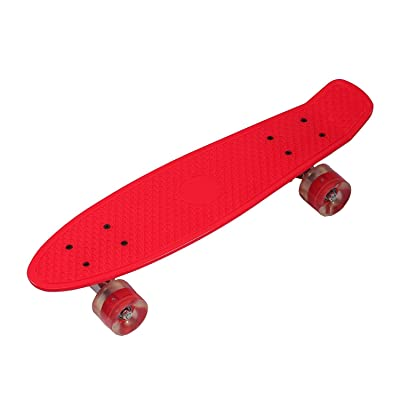 'rollingbull 27Plastic Cruiser Skateboard avec roulettes LED rouge