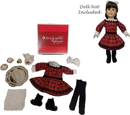 Tea Party AMERICAN GIRL Samantha Doll Holiday Set~Red Plaid Dress Treats~NEW