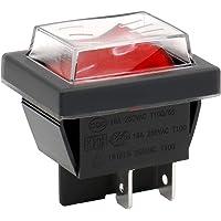 Heschen Rocker Switch ON-OFF DPST 4 terminaler rött ljus 16A 250VAC med vattentätt lock