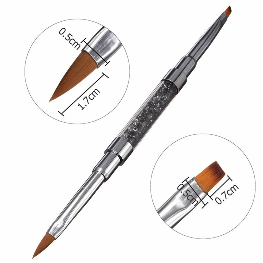 3 Style 2In1 Acrylic Rhinestone Polish Flat Painting Drawing Builder Brush Pen Nail Art Manicure Tools NO 6
