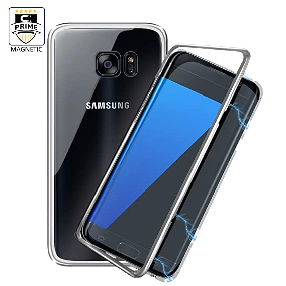 separation shoes df6ae 644ea Galaxy S7 Clear Case LIGHTDESIRE Magnetic Adsorption Separate Pieces  Aluminium Metal Bumper Case Slim Glass Back Cover (Silver) for Galaxy S7