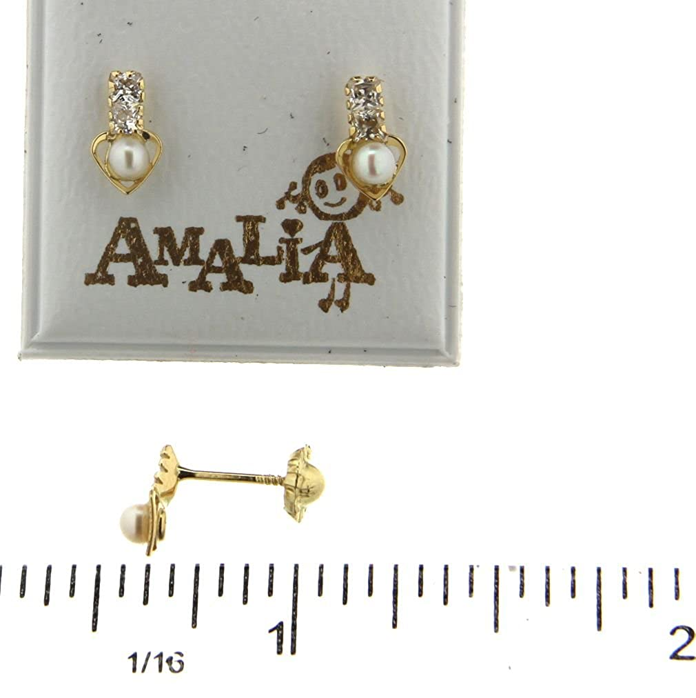 18 K yellow gold Zirconias and Cultivated Pearl heart screwback earrings 3mm Cultivated Pearl, 4x8 mm,0.16x 0.31 inches