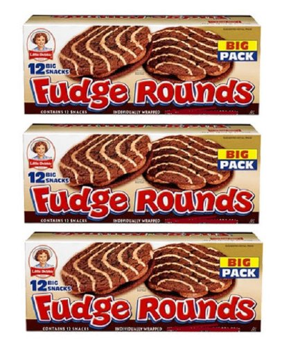 Little Debbie Individually Wrapped Fudge Rounds (12 count) BIG 24.10 Box - Pack of 3 by Little Debbie