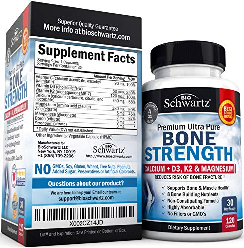 Bone Strength Supplement with Calcium + D3, K2 & Magnesium - Highly Absorbable Vitamin Blend for Bone & Muscle Support - Non-Constipating Formula - 8 Bone Building Nutrients - 120 Count