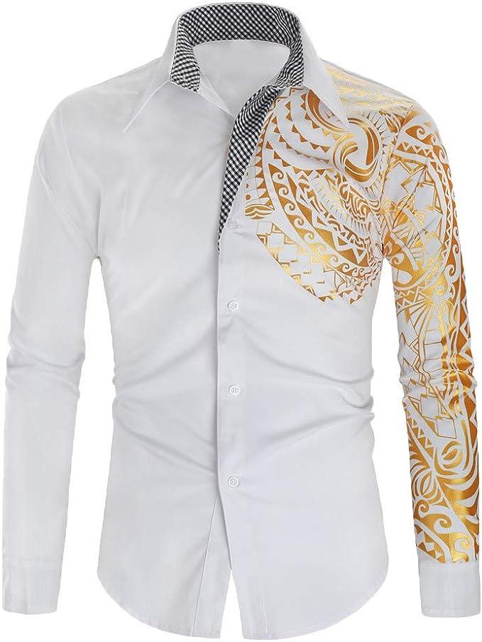 Camisa de Manga Larga para Hombre de Serliyš, con Estampado de Calavera, Manga Larga, para otoño e Invierno, Informal, con Cuello de inversión, Hombre, Blanco, Medium: Amazon.es: Deportes y aire libre