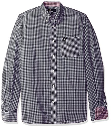 Fred Perry Gingham Shirt - Fred Perry Classic Gingham Long Sleeve Cotton Woven Black Button Down Shirt XX-Large