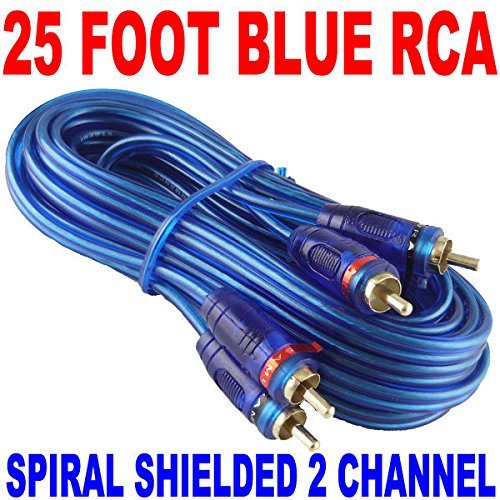 (NEW SAMURAI AUDIO 25' FT 2 CH BLUE TWISTED CAR AMP RCA CABLES INTERCONNECT)