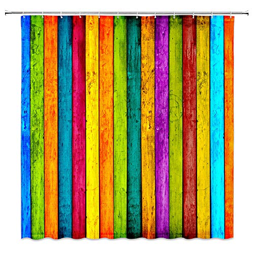 qianliansheji Painted Wood Shower Curtain Rustic with Metal Hooks 12-Pack Colorful Wallpaper Wooden Vintage Barn Door Colored Striped Rainbow Vertical Wood Planks Decor Fabric Bathroom Set 70x70 Inch ()