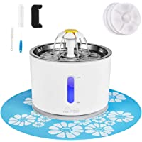 Cat Water Fountain Stainless Steel, 81oz/2.4L Intelligent Auto Power Off Pump, Pet Fountain, Cat Water Dispenser with 3…