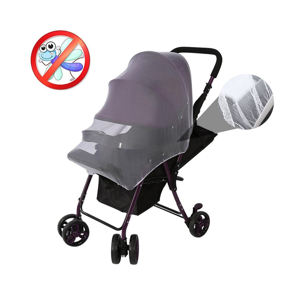 Boxwinds Pack of 2 Multifunctional Universal 150*120cm Baby Cart Full Cover Mosquito Net Travel System Insect Netting Mosquito Insect Bee Bug Net Fits Most Strollers Bassinets, Cradles and Car Seats Safe Mesh Buggy Elastic Design White