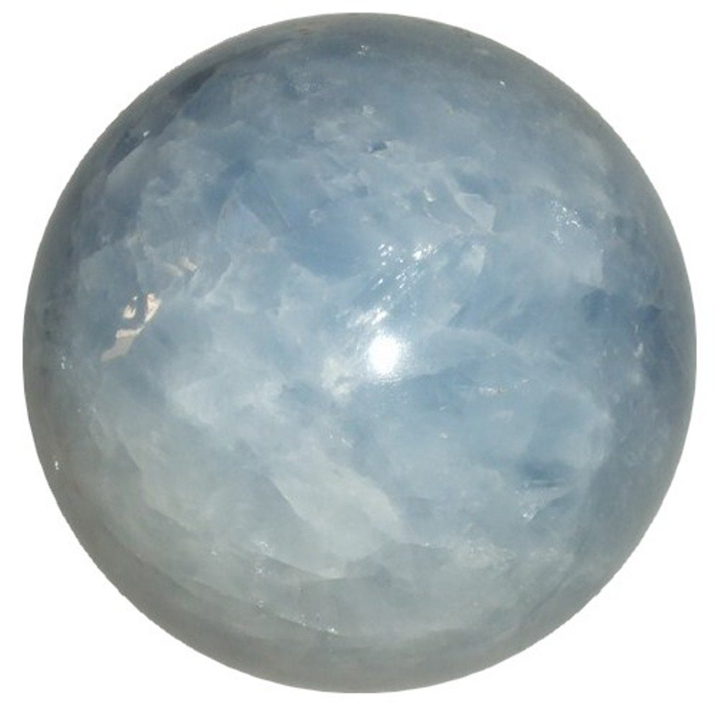 Calcite Ball Blue 03 Crystal Healing Clairvoyance Stone Gazing Sphere Polished 3.3''