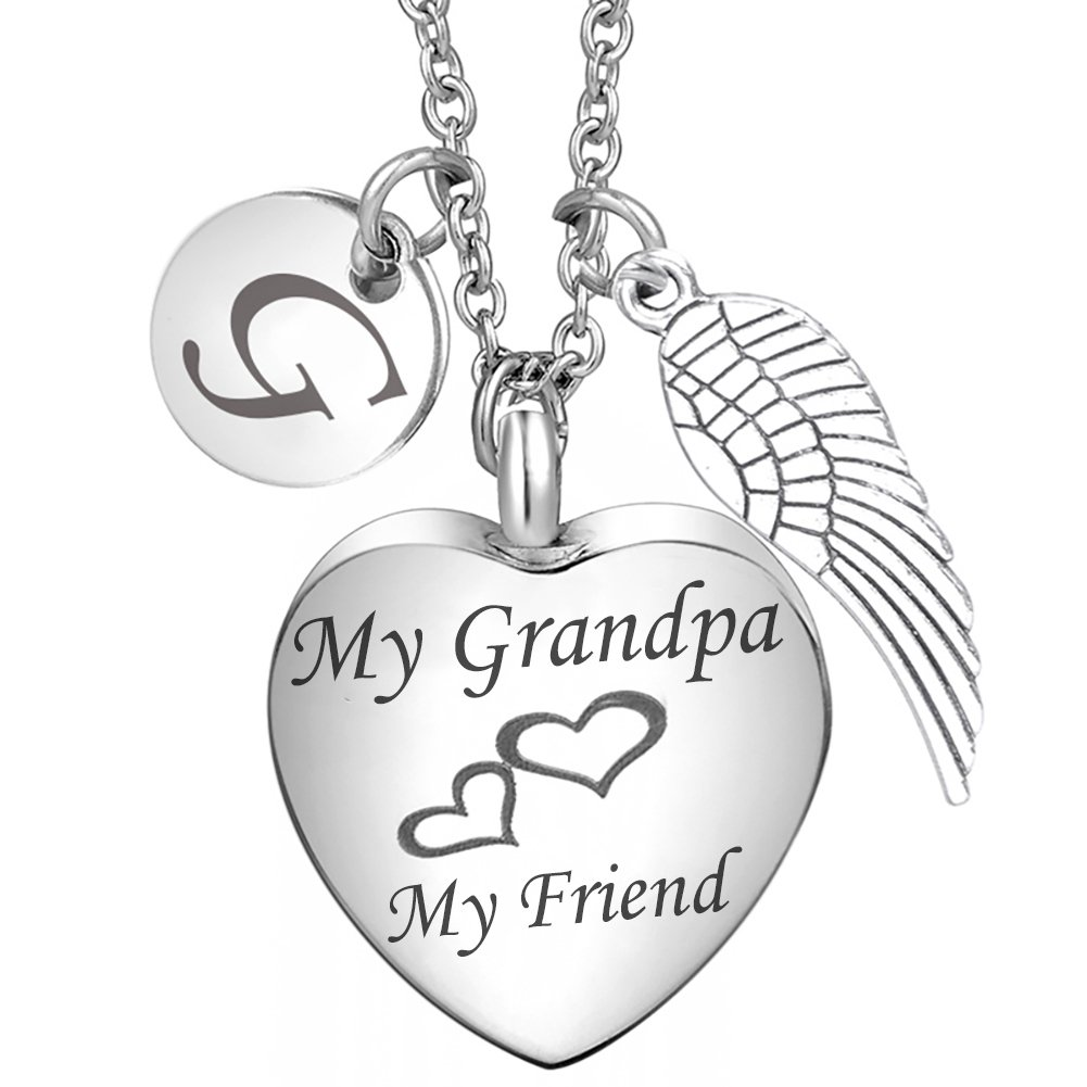 Cremation Jewelry Grandpa Heart Urn necklace 26 Initial Letter Alphabet Monogram Angel Wing Charms Memorial Keepsake Urn Pendant for ash DPGH DPGH-139