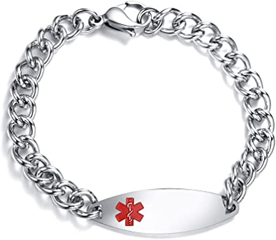 Acier Inoxydable or Rose Femmes Bracelet Médical Bracelet diabète de type 1
