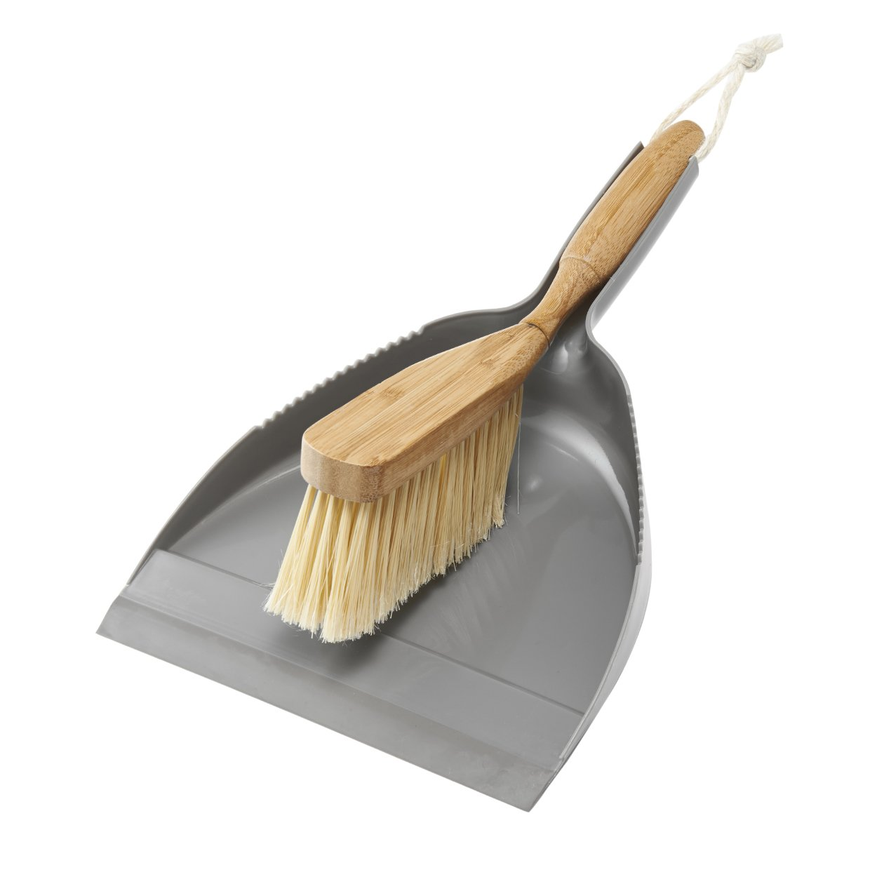 Addis Dustpan & Bamboo Hand Brush Set, Grey & Natural, Wood, 35 x 22 x 6 cm 517677