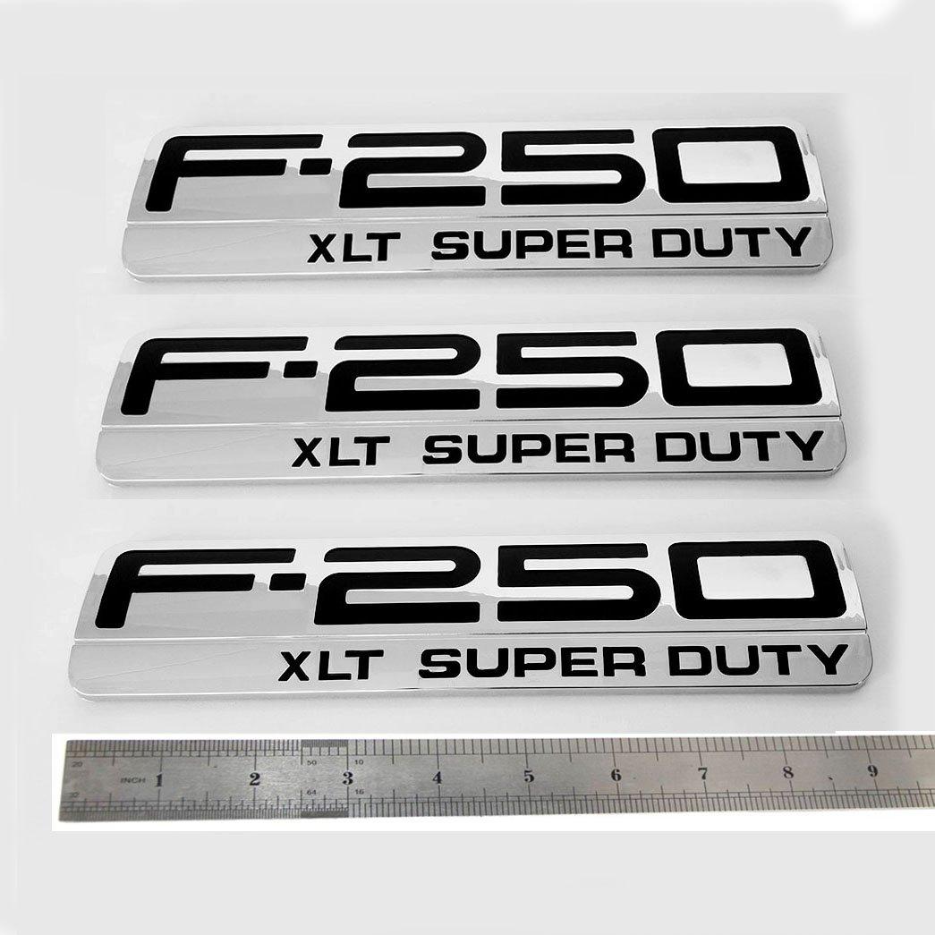 3x OEM F-250 XLT Super Duty Side Fender Emblems Badge 3D logo Replacement for F250 XLT Pickup Chrome Black