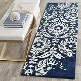Safavieh Bella Collection BEL125D Handmade Navy and Ivory Premium Wool Area Rug (2'6″ x 4′)