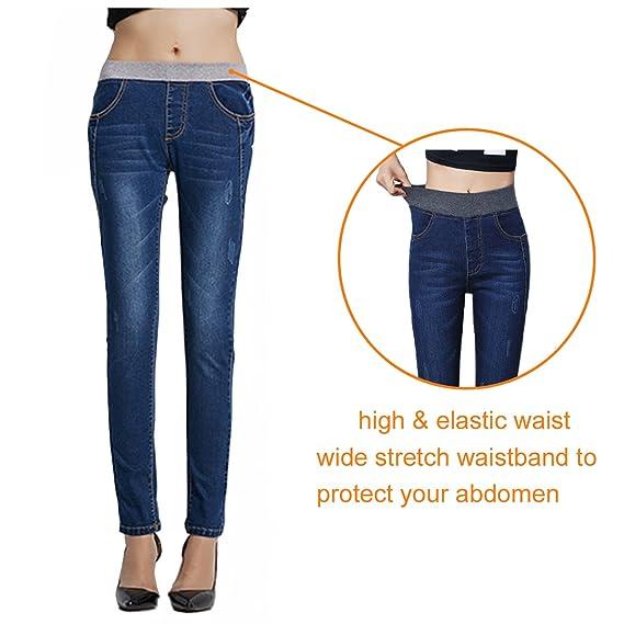 c100be577180c Amazon.com  MAYARAYLI Women s Plus Size Fleece Lined Jeans High Waist  Winter Slim Fit Stretch Skinny Denim Jeans Pants for Women  Sports    Outdoors