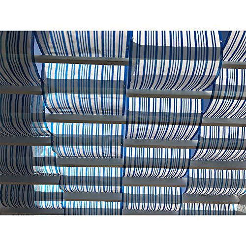 Alion Home Roman Shade Panel Cover HDPE Permeable Canopy for Pergola, Patio, Porch (3' x 18', Blue & White)