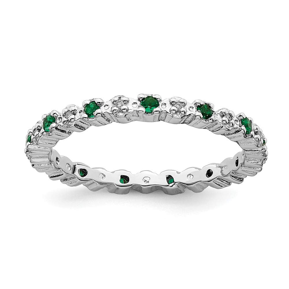925 Sterling Silver Created Green Emerald Diamond Band Ring Size 10.00 Stone Birthstone May Stackable Gemstone Fine Jewelry Gifts For Women For Her