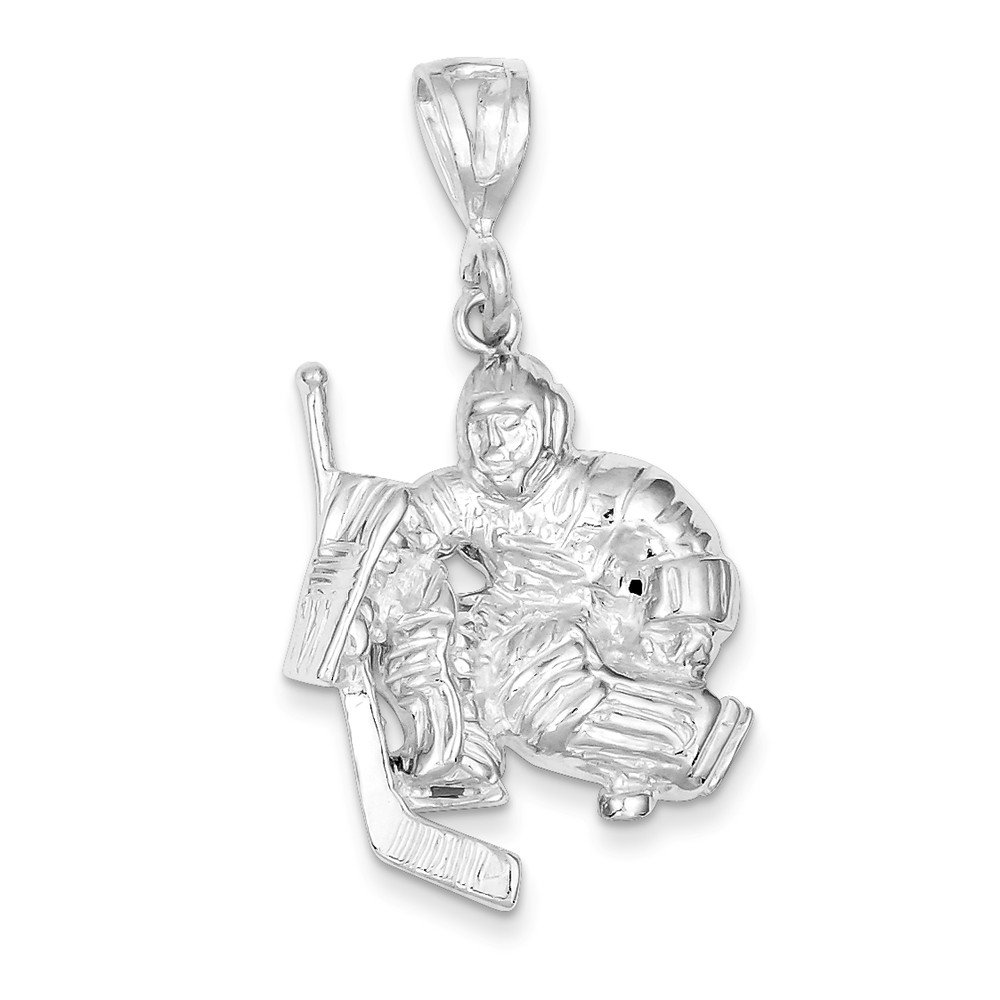 Sterling Silver Hockey Goalie Charm QC737