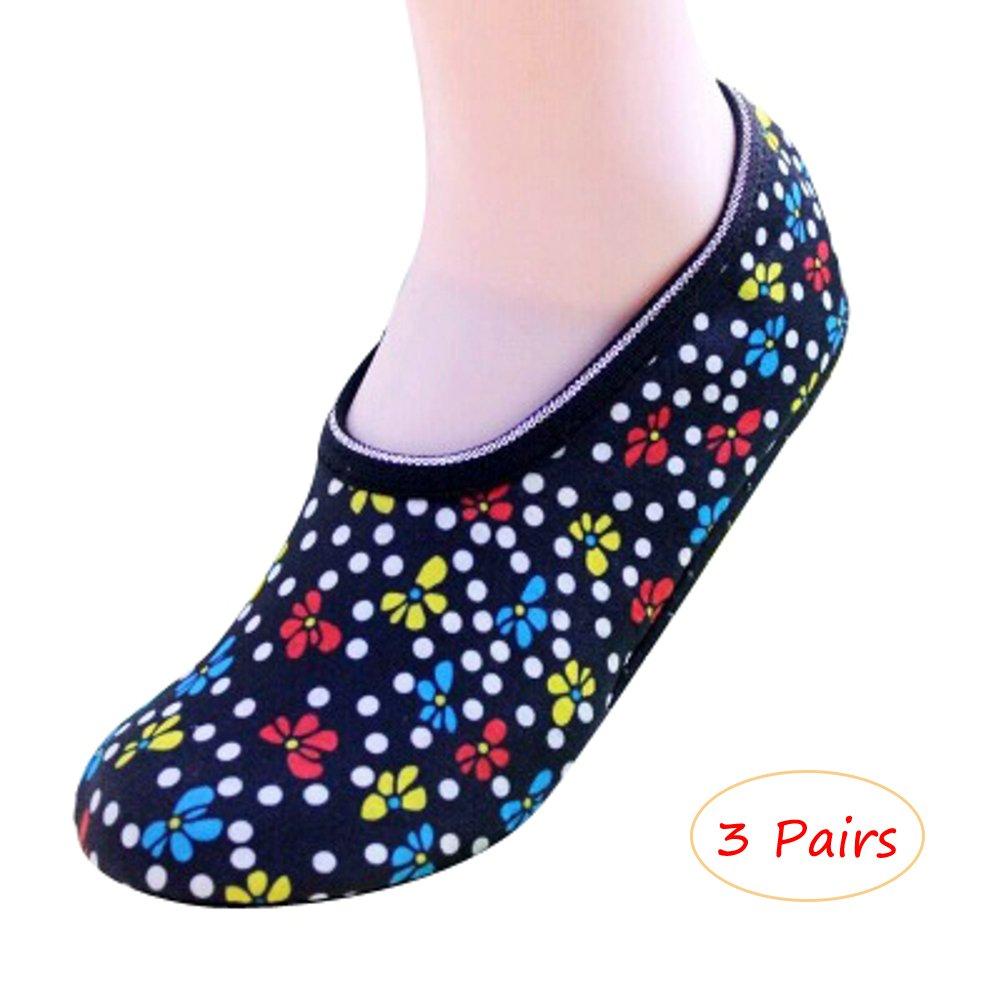 OVOV 3 Pairs Women's Slipper Socks Warm Cozy Fuzzy Non-Slip Lined Booties Indoor