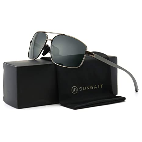 f7a8facc9f0b SUNGAIT Ultra Lightweight Rectangular Polarized Sunglasses UV400 Protection  (Gunmetal Frame Gray Lens, 62)