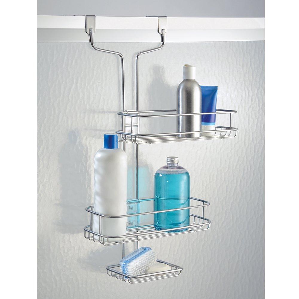 estante de ducha adaptable en metal estanter/ía colgante para ducha InterDesign Linea Estanter/ía de ba/ño para colgar plateado
