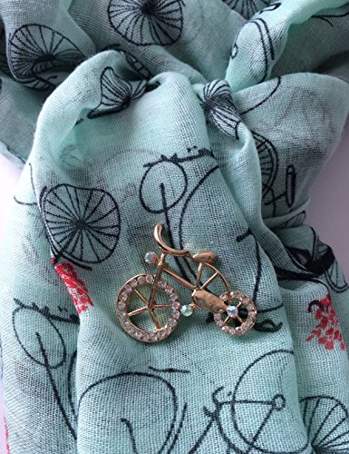Smiling Wisdom - Mint Green Bike Themed Journey Greeting Card Scarf Brooch Gift Set - I Believe in You Gift Set - Courage and Strength Inspirational - Young Adult, Coming of Age, Graduation, for Her