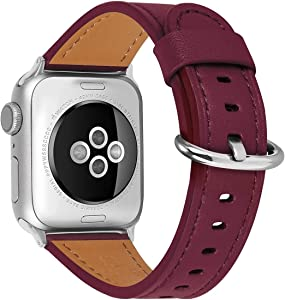 HUAFIY Compatible iWatch Band 38mm 40mm, Top Grain Leather Band Replacement Strap iWatch Series 6/ 5/ 4/ 3/2/1,SE,Sport, Edition (wine red+silver buckle, 38mm40mm)