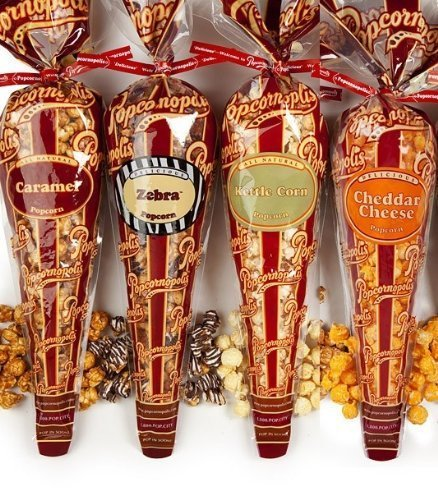 Popcornopolis Gourmet Popcorn - 4 Cones - Cheddar Cheese, Zebra, Caramel & Kettle - Small Storage Space Friendly!
